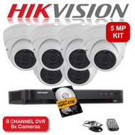 KIT: 5MP 8 Channel HIKVISION DS-7208HUHI-K1 DVR Recorder & 6x 5 MP Fixed lens Sony ViperPro Dome Camera 1080p 2.4MP 20M Night Vision HYBRID CCTV (White)