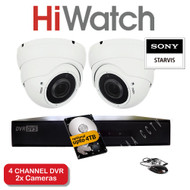 KIT: 4 Channel HiWatch 204G-F1 DVR Recorder HD & 2x Varifocal Sony Dome Camera 1080p 2.4MP 30M Night Vision HYBRID CCTV (White)