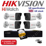 KIT: 8 Channel HiWatch 208G-F1 DVR Recorder HD & 4x HiWatch Bullet Camera THC-B220 1080p 2MP 40M Night Vision HYBRID CCTV (White)