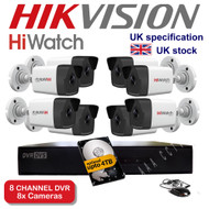KIT: 8 Channel HiWatch 208G-F1 DVR Recorder HD & 8x HiWatch Bullet Camera THC-B220 1080p 2MP 40M Night Vision HYBRID CCTV (White)