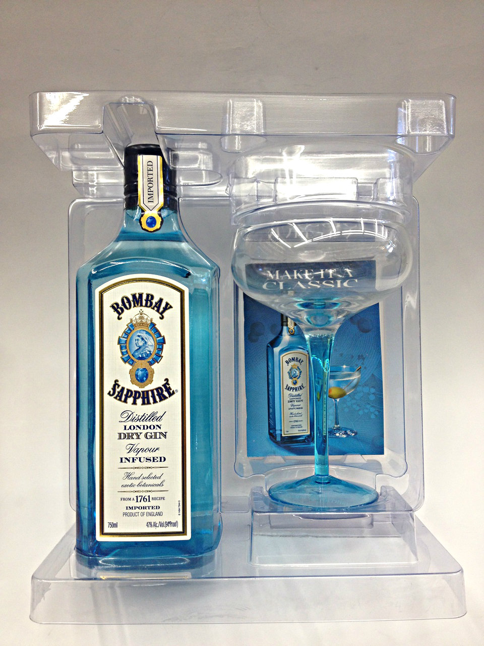 Bombay Sapphire Gin With Martini Glass | Quality Liquor Store