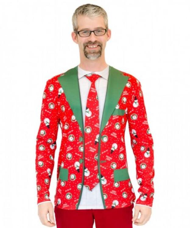 Christmas Faux Suit & Tie Mens Costume