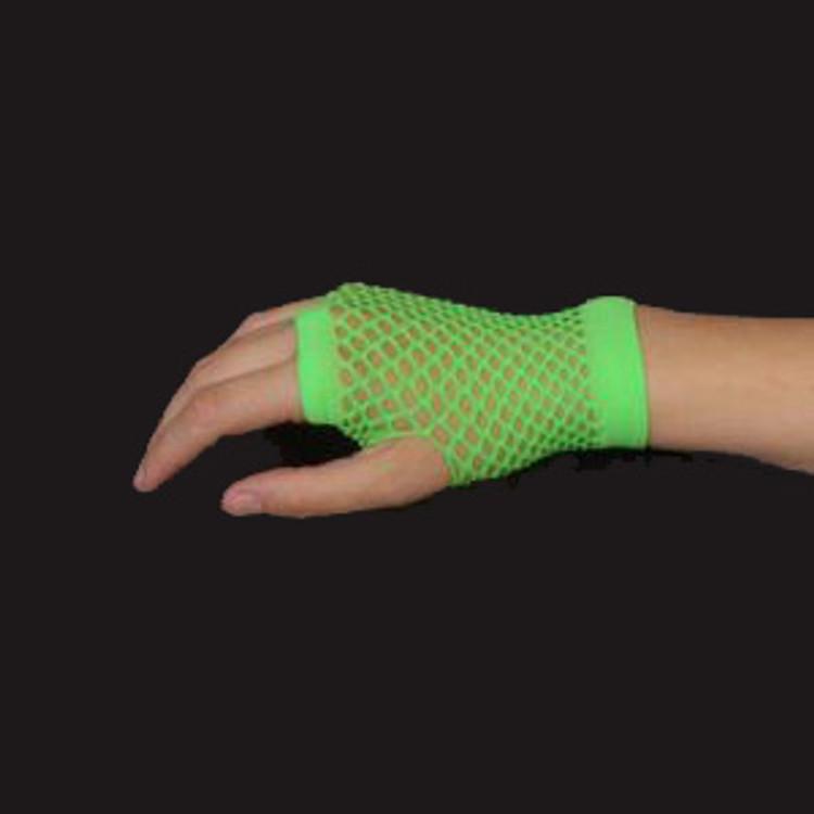 Fishnet Fingerless Gloves Short - Green Fluro