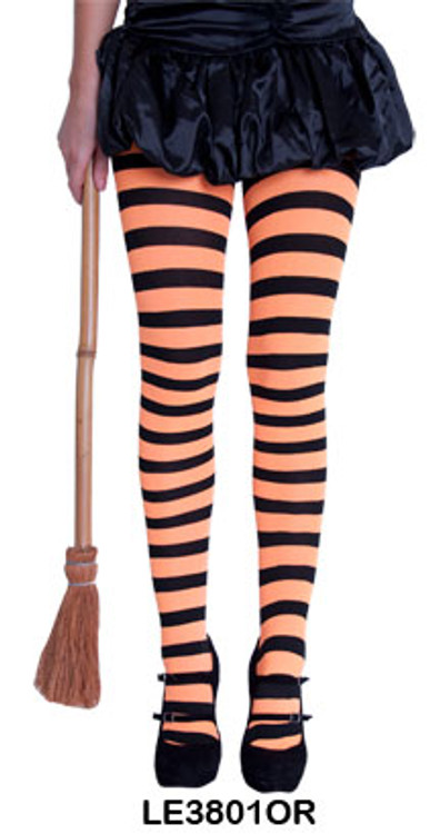 Black and Orange Striped Womens Tights
