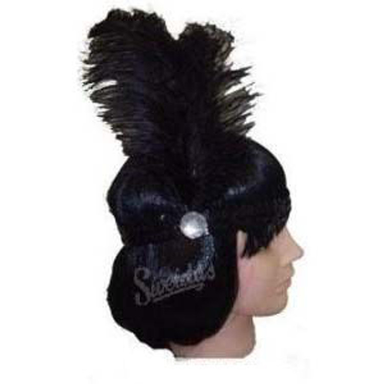 1920s Sequin Headband -Black with Black Feathers
