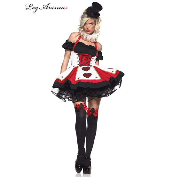 Alice in Wonderland Queen of Hearts Playing Card Sexy Womens Costume