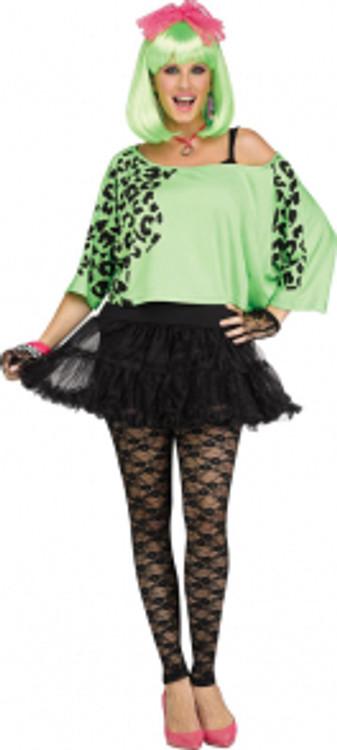 80s Womens Crop Top Neon Green