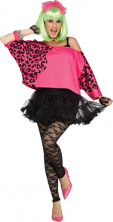 80s Womens Crop Top Neon Pink
