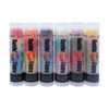 The first tube on the left in the picture of Our Chatty 6 Pack... The first flavor you will enjoy is the Apple for the whole red section, once the red is all gone you will go to the white which is Pear, then onto blue and enjoy Raspberry!  All of the lip balms no matter what color in the tube... apply clear to the lips!  Below you will find a complete list of each lip balm and the wonderful flavors you will enjoy. When you get Our Chatty 6 Pack you will have multiple lip balm flavors for yourself or plenty to share with all of your friends to enjoy! These lip balms are moisturizing and are amazing! By ordering Our Chatty 6 Pack you save...$3.50!!  1 ~ Red: Apple, White: Pear, and Blue: Raspberry 2 ~ Orange: Tangerine, Red: Mango Peach Fusion, and Yellow: Pineapple 3 ~ Purple: Fruit Punch, Pink: Pink Lemonade, and Blue: Raspberry 4 ~ White: Vanilla, Blue: Raspberry, and Pink: Strawberry 5 ~ Pink: Watermelon, Green: Apple, and Red: Strawberry 6 ~ Yellow: Mango, Pink: Peach, and Green: Pearberry  *** These are shown in the picture from left to right