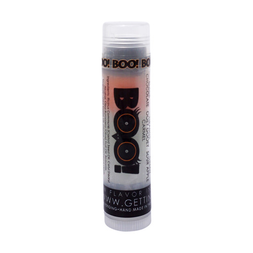 Our Halloween BOO! lip balm  You're going to go wild over this moisturizing and multi flavored lip balm! Each themed Halloween tube offers 3 flavors... they are just waiting for you to try them all! The colors in the tubes are beautiful BUT they are only to show you what flavor you are on, or going to next!  For example: The first flavor you will enjoy in the Halloween BOO! lip balm... is the Chocolate for the whole black section, once the black is all gone you will go to the orange which is Ooey Gooey Carmel, then onto green and enjoy Sour Apple!  All of the lip balms no matter what color in the tube... apply clear to the lips!  These lip balms are moisturizing and are amazing!     By ordering 3, 6 or 12 of these lip balms it will save you $$$$! So don't forget to get some for your friends!!     BOO! ~           Black: Chocolate, Orange: Ooey Gooey Carmel; Green: Sour Apple     All Gettin Lippy flavored lip balms:  The first ever multi-flavored lip balm... never get tired of just one flavor! Unlike other lip balms, Gettin Lippy lip balms are made to deliver the best moisturizing lip balm Moisturizing, and make your lips feel like silk! Long lasting, you might want to reapply for the wonderful aroma to enjoy, but the lip balm last a long time! No sticky feeling on your lips! Best lip balm!!! Applies Clear to Lips! Great gift idea for holidays, special occasions, or to share with friends! MADE IN THE USA!!