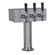 'T' Style Draft Beer Tower - 3 Faucet Brushed Stainless Steel - Air Cooled