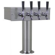 'T' Style Draft Beer Tower - 4 Faucet Brushed Stainless Steel - Air Cooled