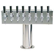 'T' Style Draft Beer Tower - 8 Faucet Brushed Stainless Steel - Glycol Cooled