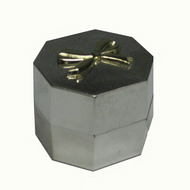 Silver Metallic Hex-Shaped Ring Box with Packer