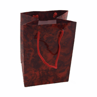 Red Marble Drawstring Snap Pouch