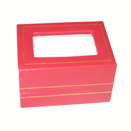 Red earring / pendant box with acetate window