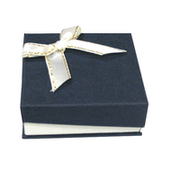 Matte look hinged paper box with white bow