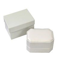 White Leatherette Double Ring Box 1