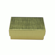 "Gold Foil 3 1/2"" Paper Box with Cotton Fill"