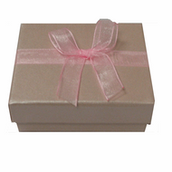 Shiny pink 2-piece paper box with pink organza ribbon
