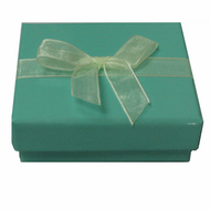 Shiny turquoise 2-piece paper box with ivory organza ribbon 1
