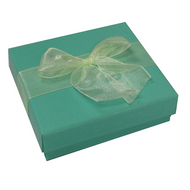 Shiny turquoise 2-piece paper box with ivory organza ribbon 2