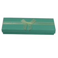 Shiny turquoise 2-piece paper box with ivory organza ribbon 3