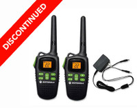 Discontinued Motorola MD200R Two Way Radios with Rechargeable Battery Packs and Charging Cable