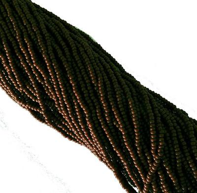 Redish Brown Opaque Czech 8/0 Glass Seed Beads 1 Full 12 Strand Hank Preciosa Jablonex