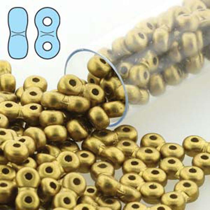 Infinity Beads 3x6mm 2-hole Czech Glass Matte Metallic Olivine 8 Grams