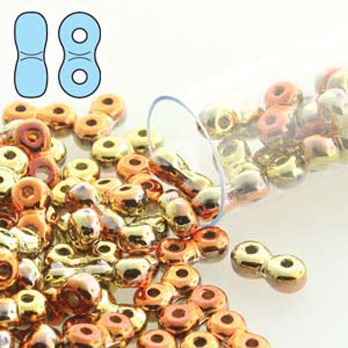 Infinity Beads 3x6mm 2-hole Czech Glass California Gold Rush 8 Grams