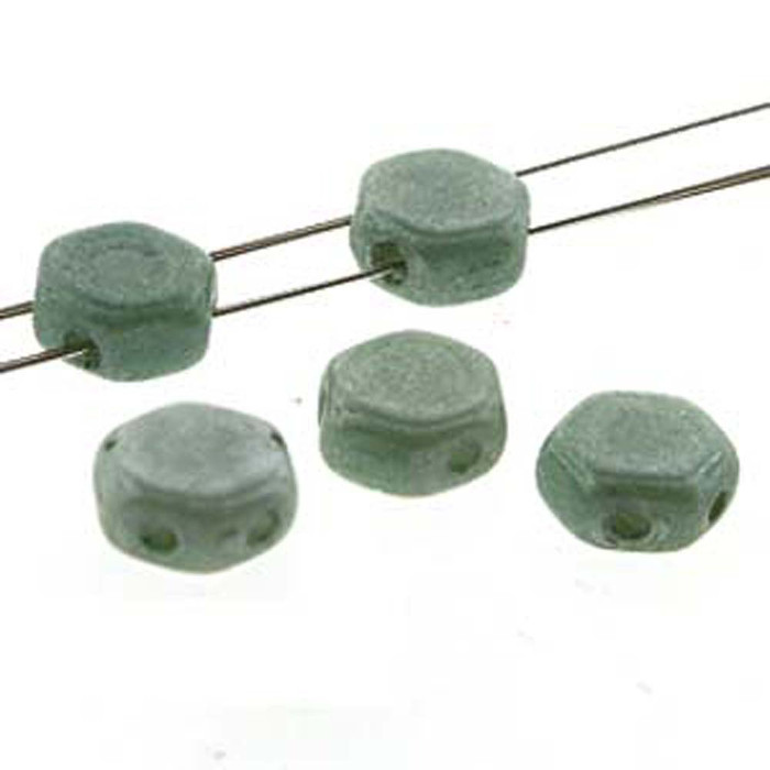 Chalk Green Luster 30 loose beads 6mm 2-Hole Czech Glass Honeycomb Beads