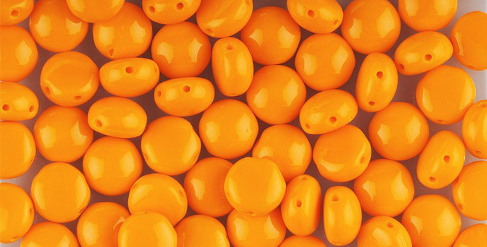Orange Preciosa Czech Glass Candy Beads 8mm 2-Hole Cabachon