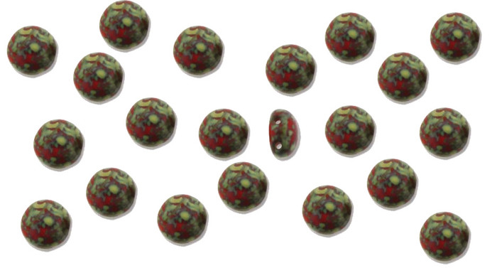 Red Travertine Preciosa Czech Glass Candy Beads 8mm 2-Hole Cabachon