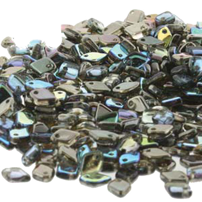 Crystal Graphite Rainbow Czech Glass Dragon Scale Bead 1 5x5mm 9 5 Grams