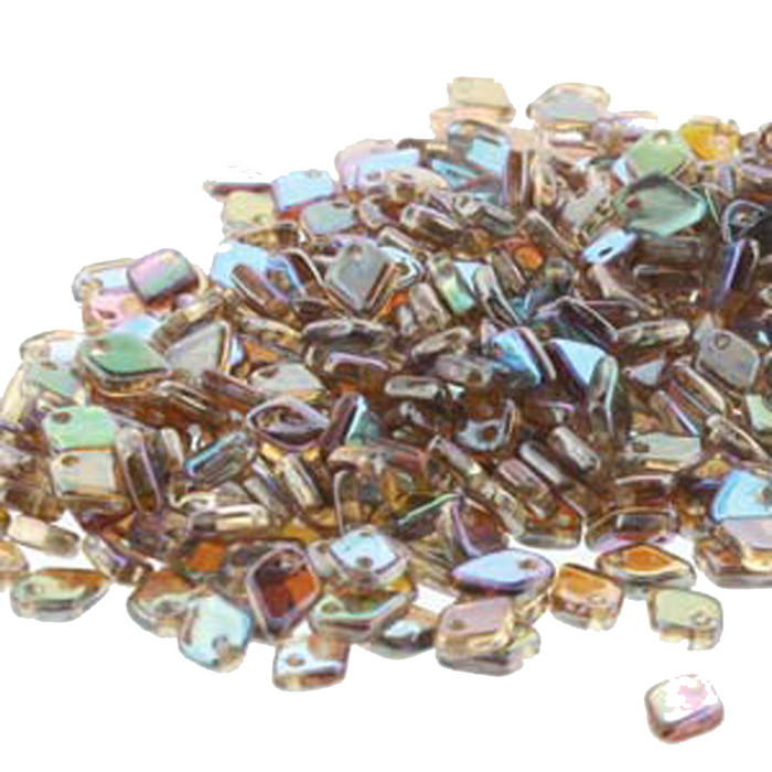 Crystal Brown Rainbow Czech Glass Dragon Scale Bead 1 5x5mm 9 5 Grams