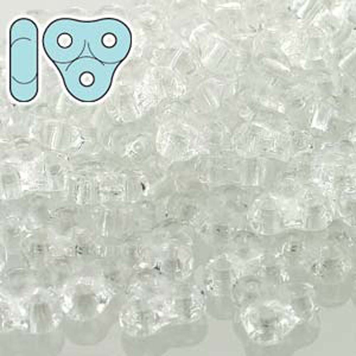Crystal Trinity 3-hole Czech Glass Beads 8x8mm 8 Grams