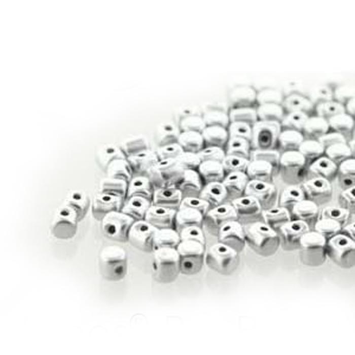 Silver Aluminum Matte MINOS® Par PUCA® 2 5x3mm Cylinder Glass Beads 5gr
