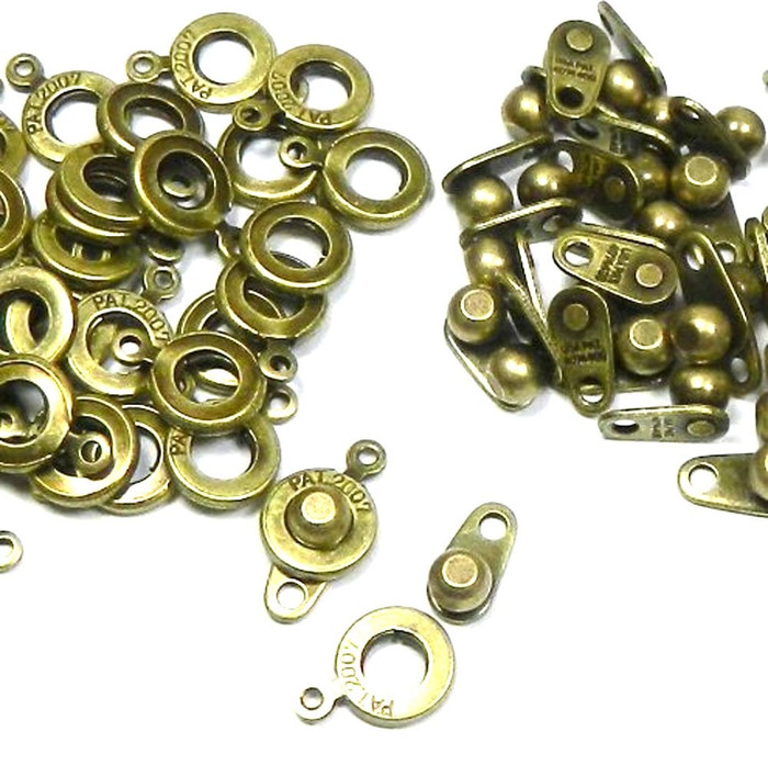 Premium Weight Ball & Socket Clasp 8mm Antiqued Brass 36 Clasps Jewelry Findings