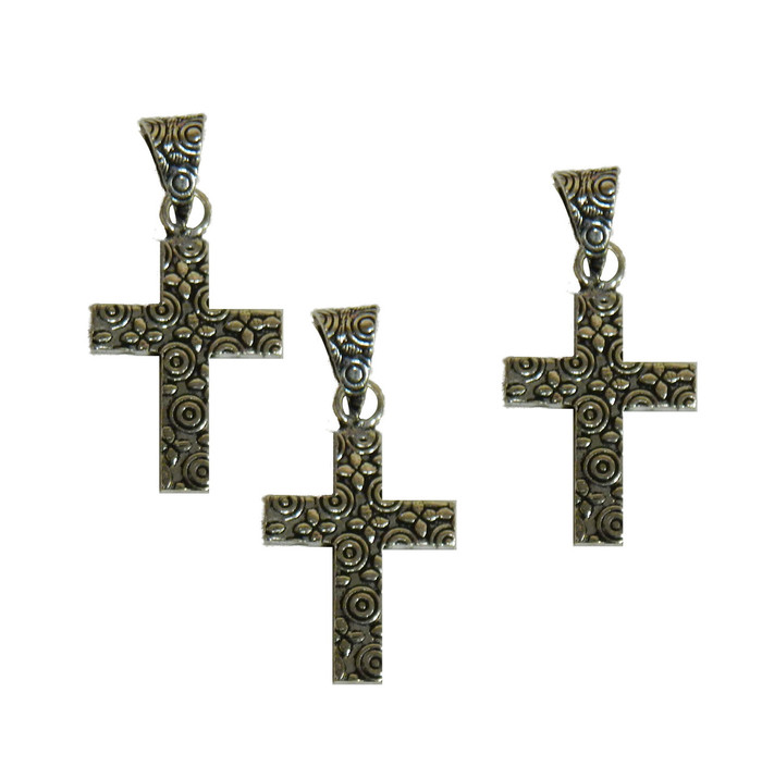 3 Cross Pendants With Bail Antique Silver Plated Copper 25x19mm