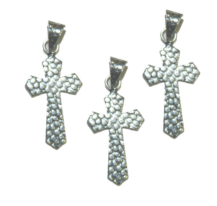 3 Cross Pendants With Bail Antique Silver Plated Copper 32x20mm