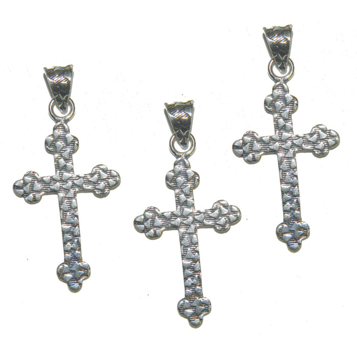 3 Cross Pendants With Bail Antique Silver Plated Copper 35x24mm