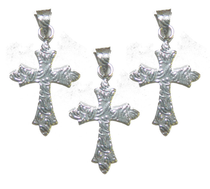 3 Cross Pendants With Bail Antique Silver Plated Copper 35x25mm