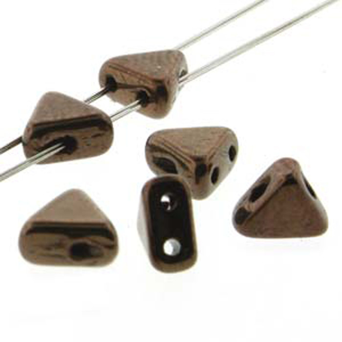 Dark Bronze 9 Gram Kheops Par Puca 6mm 2 Hole Triangle Czech Glass Beads