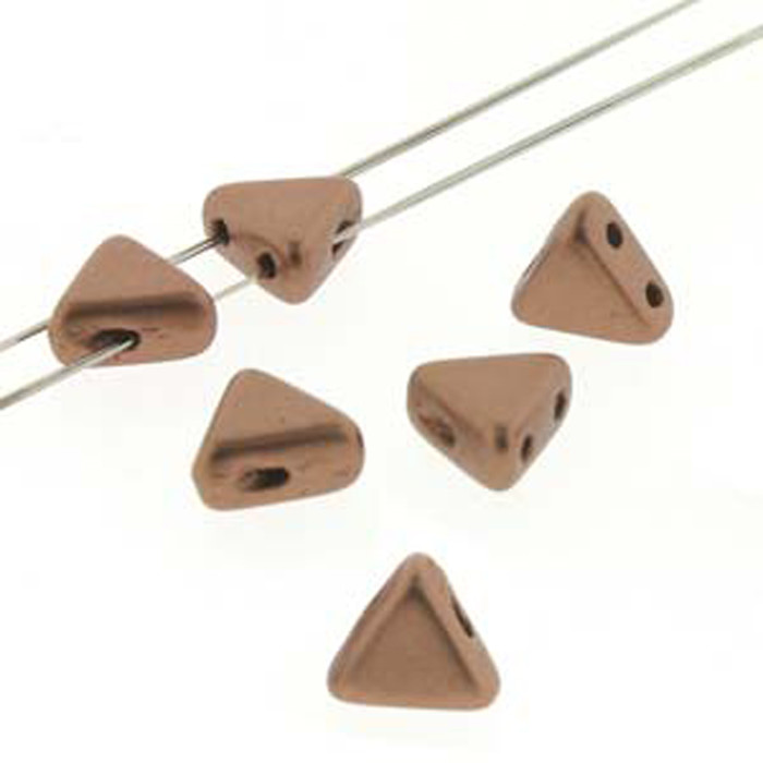 Copper Gold Matte 9 Gram Kheops Par Puca 6mm 2 Hole Triangle Czech Glass Beads