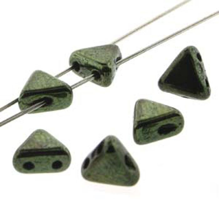 Metallic Green 9 Gram Kheops Par Puca 6mm 2 Hole Triangle Czech Glass Beads