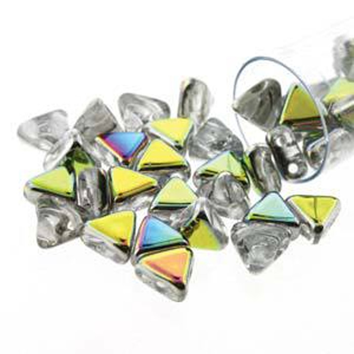 Crystal Marea 9 Gram Kheops Par Puca 6mm 2 Hole Triangle Czech Glass Beads