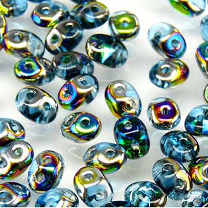 Aqua Vitrail 2x4mm 2 Hole Bead 8 Grams Superduo Miniduo