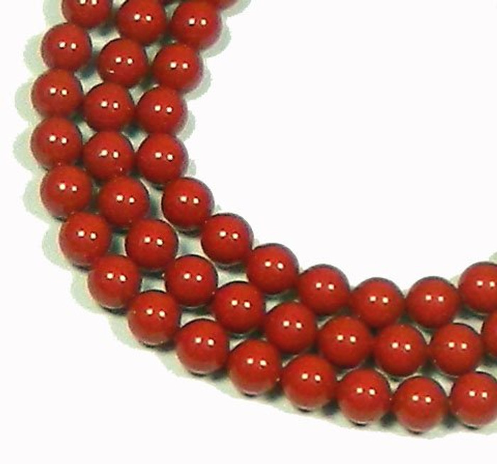 "100 Coral RED Swarovski Crystal Pearls 6mm Round Beads 5810. 24"" Loose Strand"