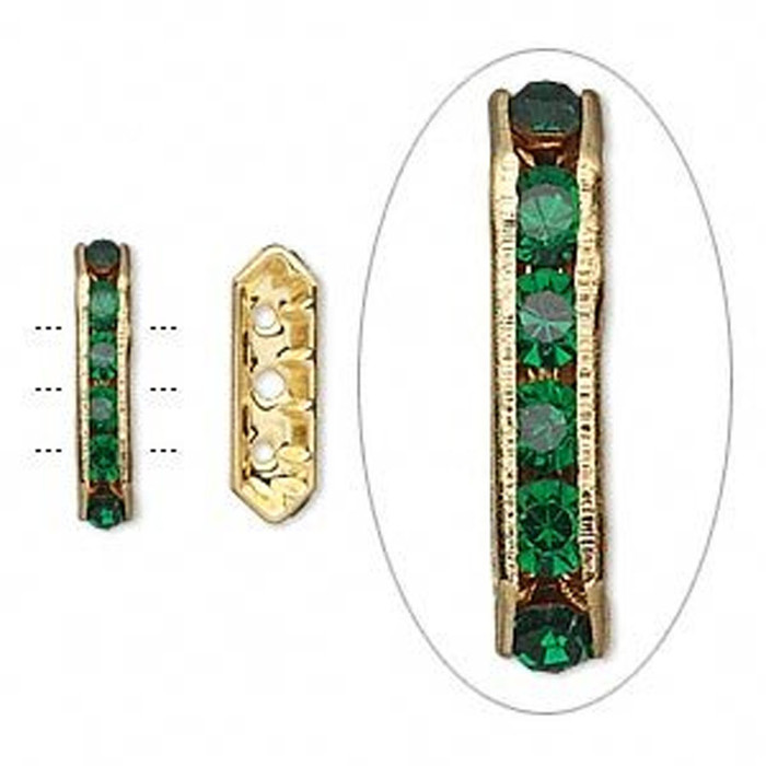 28 Gold-finished Bead 28 Brass and Rhinestone Green 16x5mm 3-strand Bridge